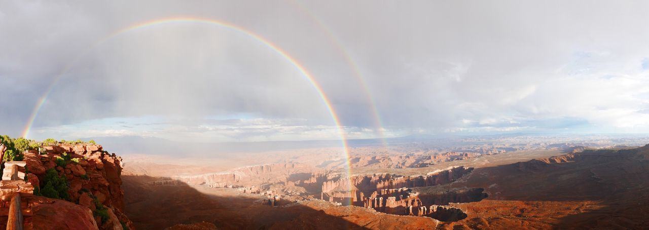 Panoramic View Of Rainbow Over Landscape Against Sky