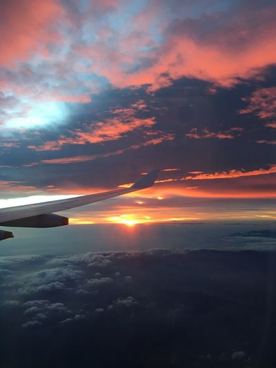 God Is Great. Airplane Airplane Wing Beauty In Nature Cloud - Sky Day Nature No People Orange Color Outdoors Scenics Silhouette Sky Sunset Tranquil Scene Tranquility Transportation