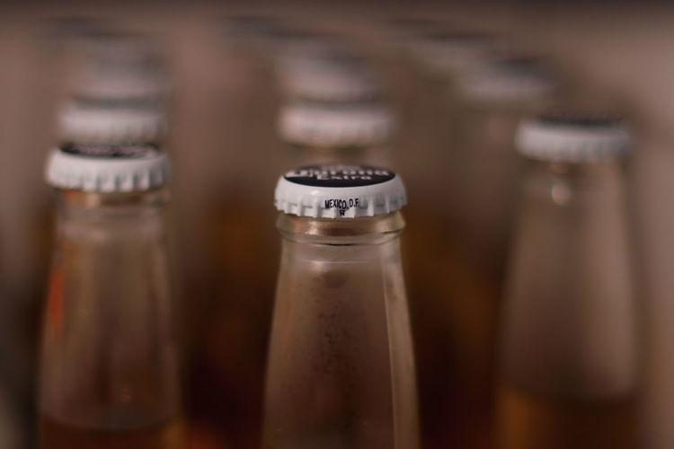 Close-up of beer bottles