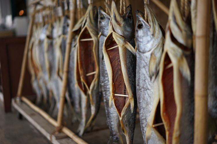 Dried fish for sale at market