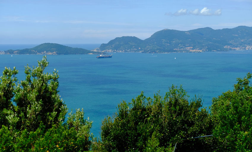 Ligurian coast landscape from the montemarcello hamlet in ameglia, la spezia, liguria, italy.
