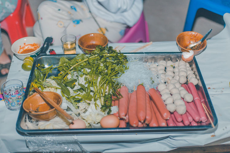 Meetball and sausage shabu