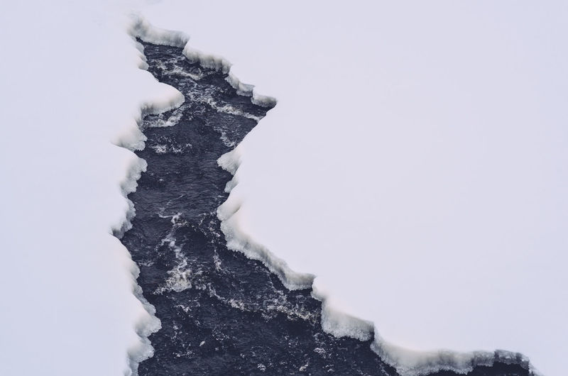 High Angle View Of Ice On Water