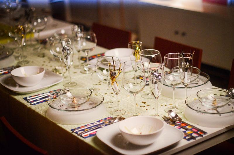 Dining table prepared for dinner