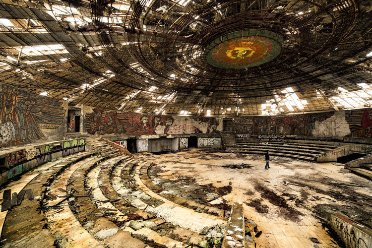 Architectural Feature Architecture Built Structure Bulgaria Buzludzha Monument Interior Communist Architecture Communist Monument Day Design Diminishing Perspective Full Frame Illuminated No People Ornate The Way Forward