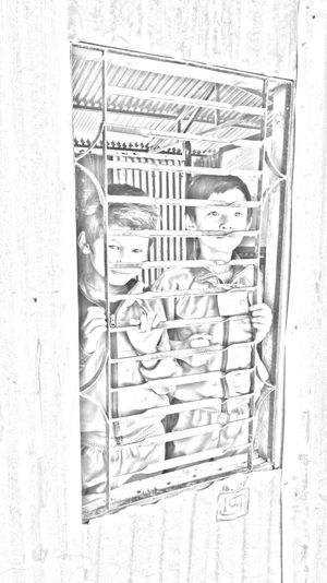 Two school boys standing at a window in pencil sketch. School Boys At Window School People In Nepal Nepal Pencil Sketching