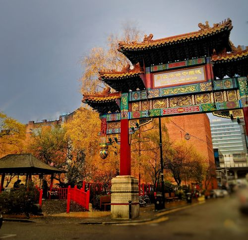 Sometimes warm colours in cloudy days are the best Manchester UK Multi Colored Outdoors China Town Red Autumn Colors