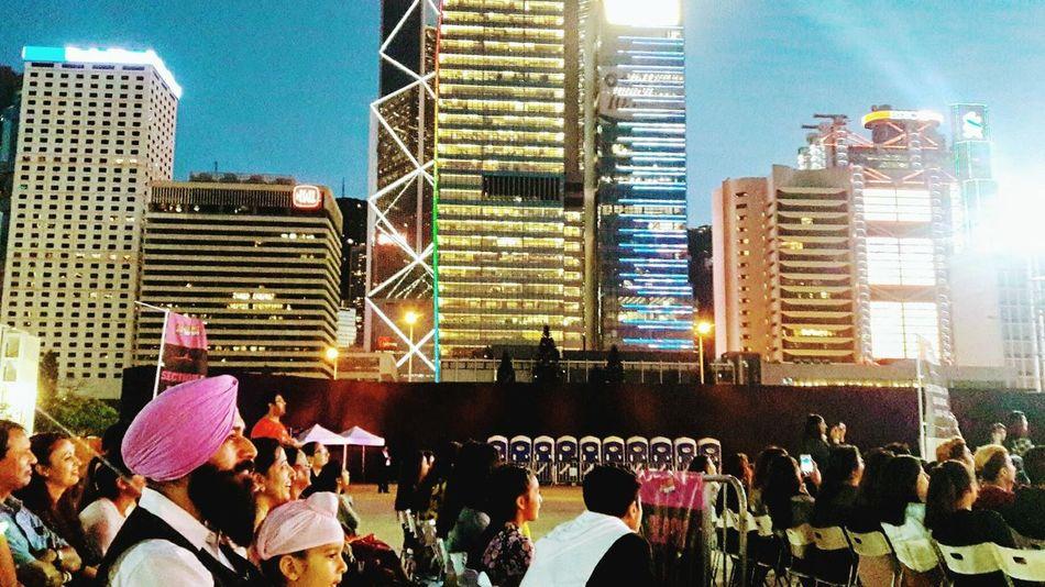 Skyscraper City Architecture Urban Skyline Large Group Of People Illuminated Night Outdoors Hong Kong Island