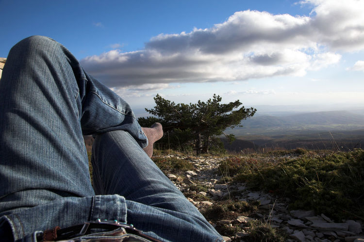 Low Section Of Man Relaxing By Field