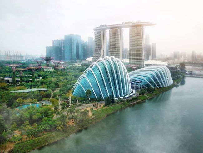 Marina bay glow Marina Bay Marina Bay Sands Gardens By The Bay Cloud Dome Flower Dome Singapore Drone  Djimavic Skyscraper Urban Skyline Cityscape City Architecture Building Exterior Modern Downtown District Tower Travel Destinations Built Structure