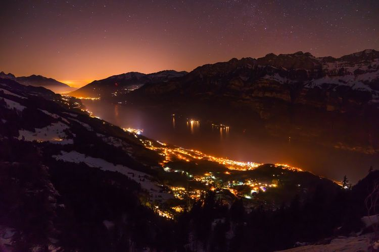 Walensee by night - what a sight Switzerland Walensee Flumserberg Mountain Night Mountain Range Tranquility Nature Tranquil Scene Scenics Astronomy Lake Star - Space Sky