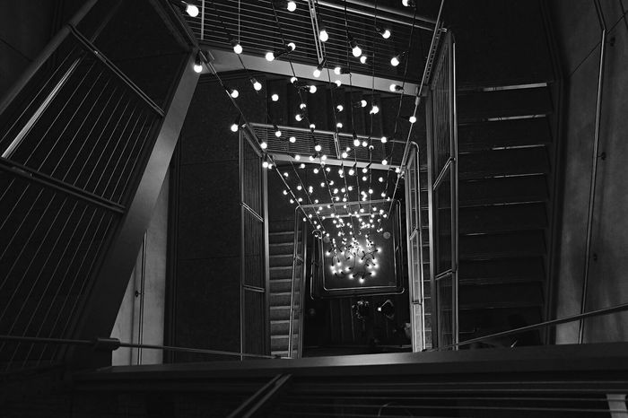 Monochrome_Photography follow the light Illuminated Low Angle View Architecture Steps Staircase Lights Light Whitney Museum New York Museum Black And White Blackandwhite The Architect - 2017 EyeEm Awards
