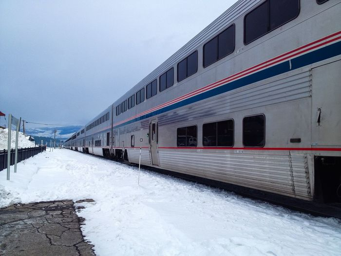 At the train station in Truckee on a cold winter morning. California Diminishing Perspective Overcast Snow Train Train Station Transportation Travel Traveling Truckee  Vanishing Point Winter Winter Sky