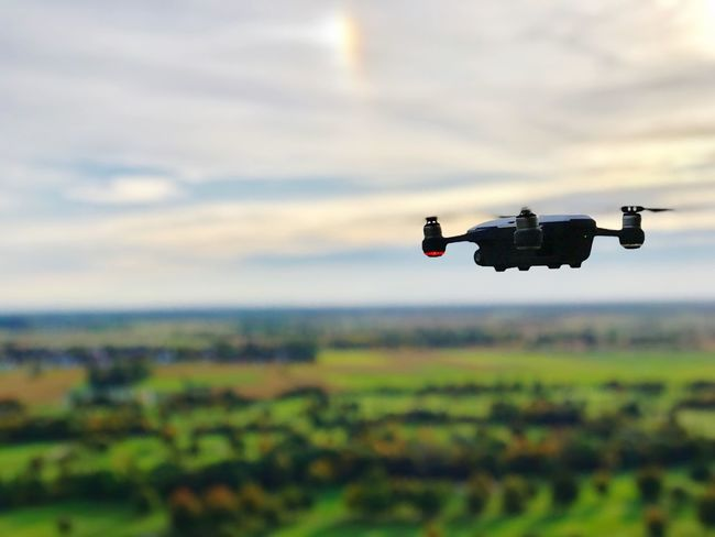 Little spark DJI X Eyeem Flying Air Vehicle Drone  Dji Spark Dji Spark Outdoors Day Sky Landscape No People Airplane Sunset Be. Ready. Close-up Focus On Foreground The Great Outdoors - 2017 EyeEm Awards Scenics
