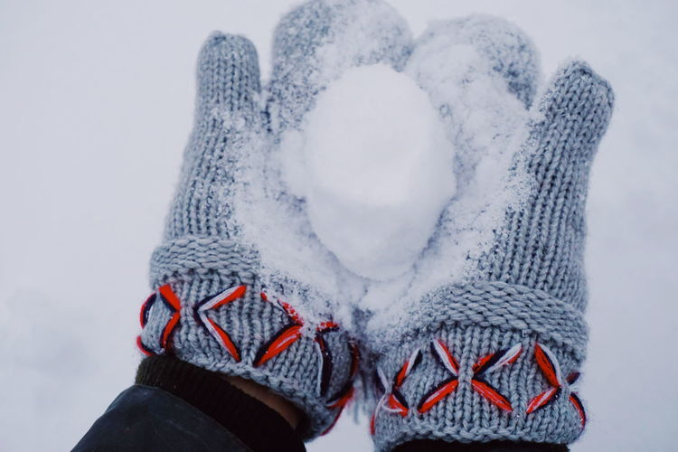 Close-Up Of Cropped Hands Holding Snowball