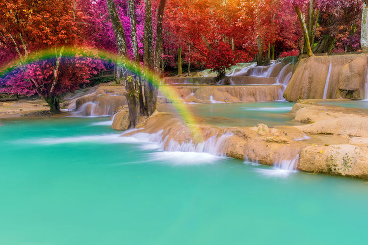 Water Beauty In Nature Nature Tree Scenics - Nature Plant No People Waterfront Waterfall Motion Flowing Water Long Exposure Tranquility Idyllic Tranquil Scene Lake Reflection Day Rock Flowing Outdoors Ornamental Garden Power In Nature Running Water