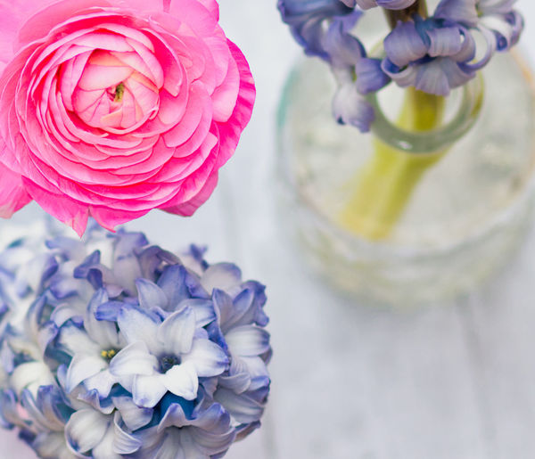 Flower Flowering Plant Beauty In Nature Freshness Vulnerability  Fragility Plant Petal Flower Head Close-up Inflorescence Vase Nature No People Indoors  Flower Arrangement Pink Color Focus On Foreground High Angle View Purple Bouquet Springtime Bunch Of Flowers Nature_collection EyeEm Nature Lover