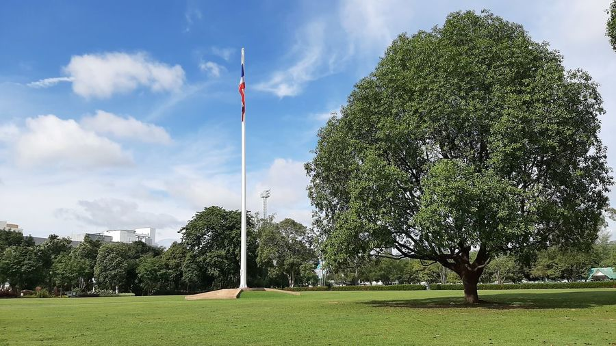 Scenic view of park against sky