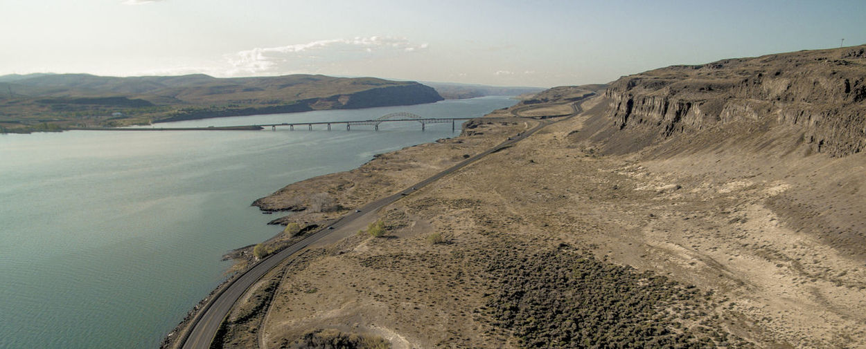 Aerial Photography Aerial View Beauty In Nature Bridge Columbia River Day Desert Dji Drone  Dronephotography Gorge Highway Landscape Mountain Nature No People Outdoors PNW River Scenics Tranquil Scene Tranquility Water EyeEmNewHere
