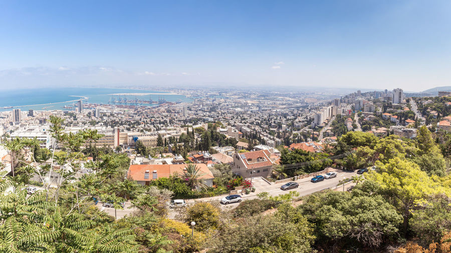 Panoramic view of downtown Haifa, Haifa harbor and bay. View from Mount Carmel Cityscape Downtown Haifa Israel Haifa Bay Harbor Mediterranean Sea Panoramic View Roads Skyline Stella Maris Monastery Travel Architecture Beutiful  Buildings Day High Angle View Horizon Metropolis Mount Carmel Nature Port Ship Tourism Destination Urban Water