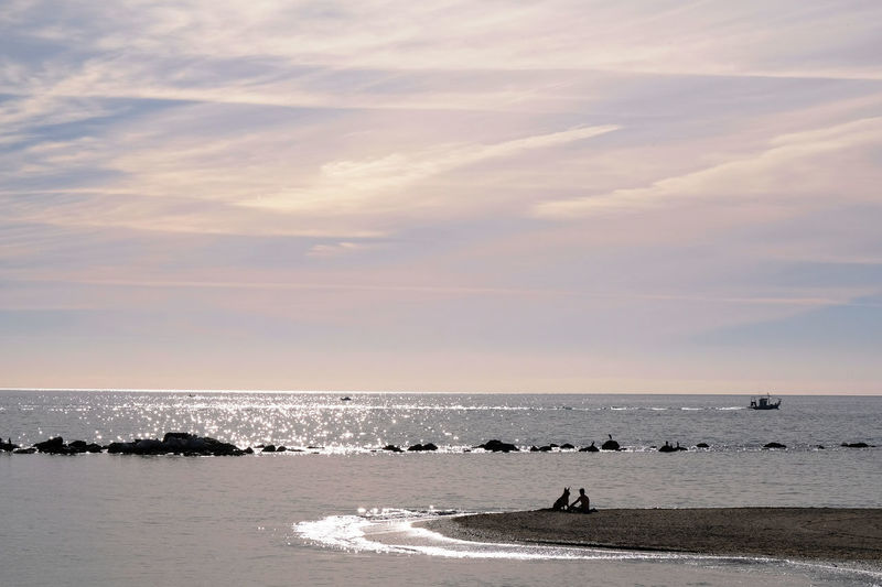 Benalmádena, Malaga, Spain Nature Silhouette Tranquility Vacations Animal Themes Beach Beauty In Nature Cloud - Sky Day Friendship Horizon Over Water Mammal Nautical Vessel One Person Outdoors Pet Scenics Sea Sky Sunset Sunshine Togetherness Tourism Travel Destinations