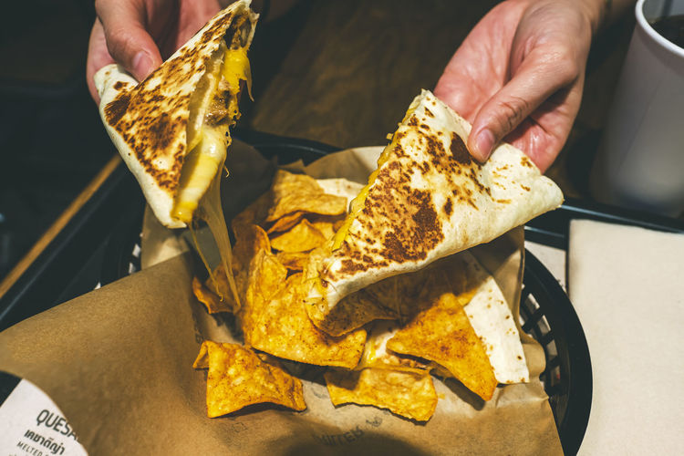 Taco Food Food And Drink Snack Ready-to-eat Close-up Freshness Indoors  Unhealthy Eating Human Hand Hand One Person Real People Human Body Part Holding Midsection Men Unrecognizable Person High Angle View Lifestyles Take Out Food Nacho Chip Finger Tray