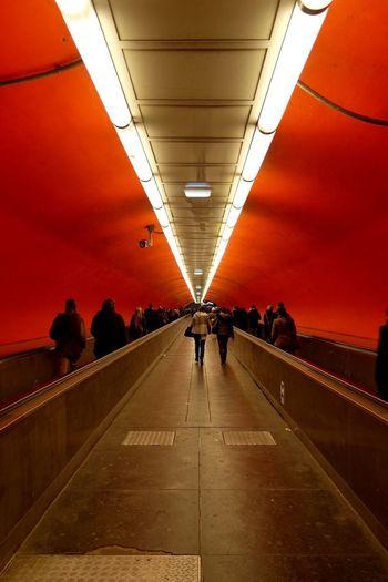 Red un the Public Transportation Metro Perspective Walking Urban Geometry Vanishing Point