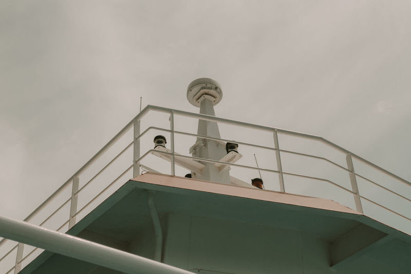 Antenna Architecture Bridge Building Exterior Built Structure Communication Connection Day Low Angle View Marine No People Outdoors Satellite Ship Sign