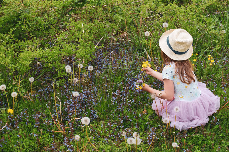 High angle view of girl sitting on grassy field