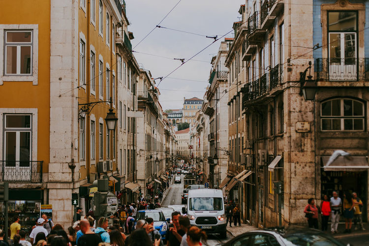 Building Exterior Architecture City Transportation Real People Group Of People Street Crowd Lifestyles Busy Cityscape Heritage Lisbon Portugal