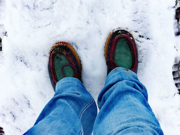 From My Point Of View Low Section Personal Perspective Shoe Real People Feet On The Ground Walking Winter Cold Temperature Standing Outdoors Bokeh The Places I've Been Today January 2017 Winter Wonderland Winter 2017 It Is Cold Outside How Is The Weather Today? Winter Low Angle View White Background