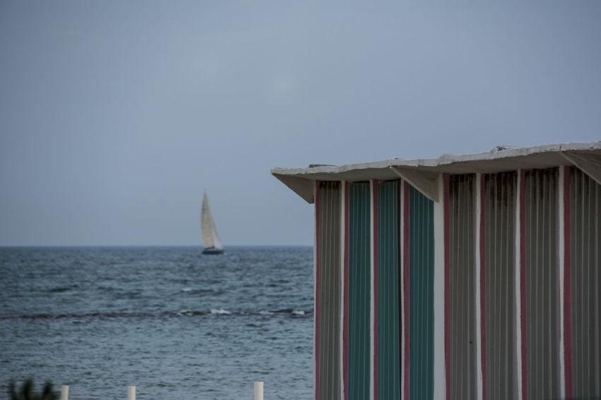 Sea Beach Beach Cabins Water No People Sand Sail Boat Horizon Over Water From My Point Of View EyeEm Gallery Nikon D7100 EyeEmBestPics The Week On EyeEm EyeEm Best Shots