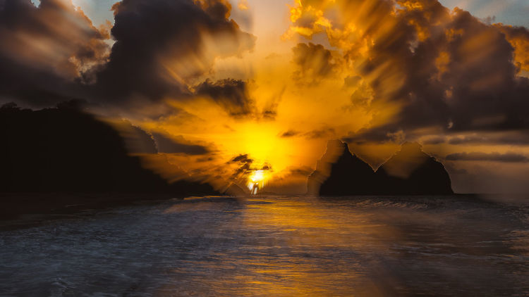 Brazil Fernando De Noronha Fernando De Noronha Island Noronha Beach Beauty In Nature Cloud - Sky Day Nature No People Outdoors Scenics Sea Sea And Sky Seascape Silhouette Sky Sun Sunset Tranquil Scene Tranquility Water Waterfront