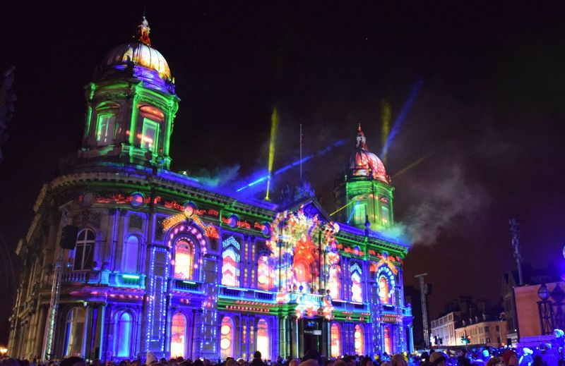 """""""In With A Bang"""", Hull - UK City of Culture 1st January 2017 Architecture Building Exterior City Clock Tower Hull Hull 2017 Hull City Hall Hull City Of Culture 2017 Hull2017 Illuminated Low Angle View Midnight Night No People Outdoors Sky Travel Destinations"""