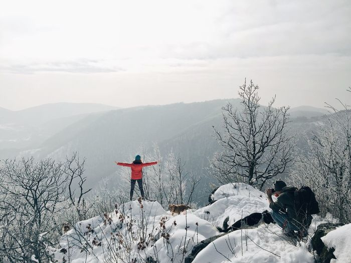 "Foto sekcija ""Tuljani u Sumi"" 2 / Photo section ""Seals in the forest"" 2, Ostrc (elevation 752 m), Nature Park Zumberak - Samoborsko gore, Jan 22, Croatia, 2017. Ostrc Samoborsko Gorje Mountain Life Lifestyles Leisure Activity Winter Snow Nature Photographing Photographer Girl Red Landscape Beauty In Nature Scenics Adventure"