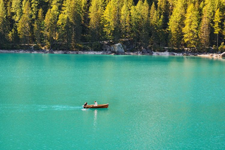 Scenic view of lake against trees. boat on a lake.