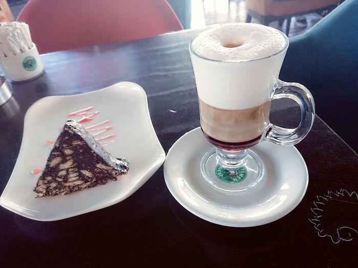Turkish Coffee Kahve Caramel Macchiato with Mozaik Cake Food And Drink Food Photography