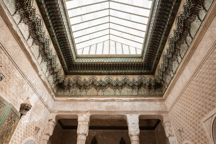 Architecture Built Structure Indoors  No People Day Pattern Window Low Angle View Building Design The Past Architectural Feature History Ceiling Flooring Staircase Wall - Building Feature Sunlight Ornate Directly Below Skylight Architecture And Art Telouet Skylight