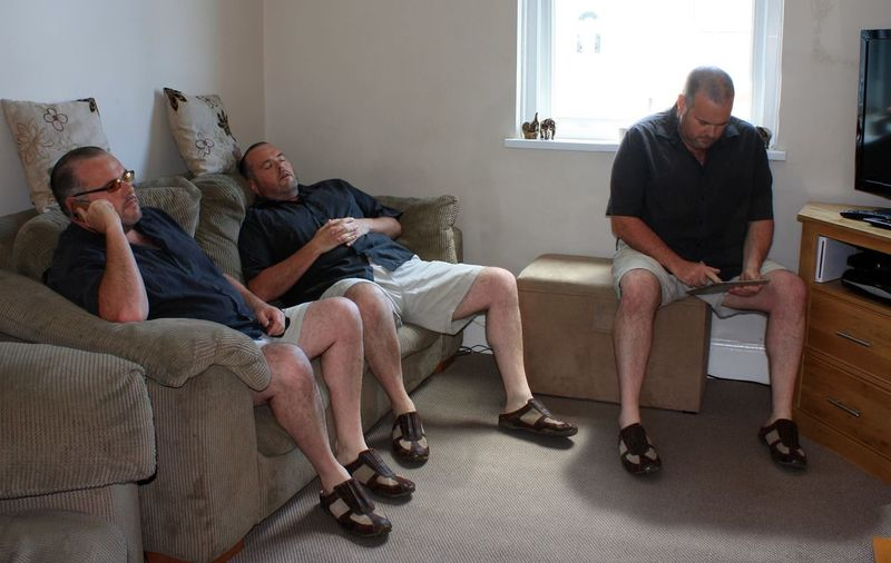 Multiple image of man sitting at home