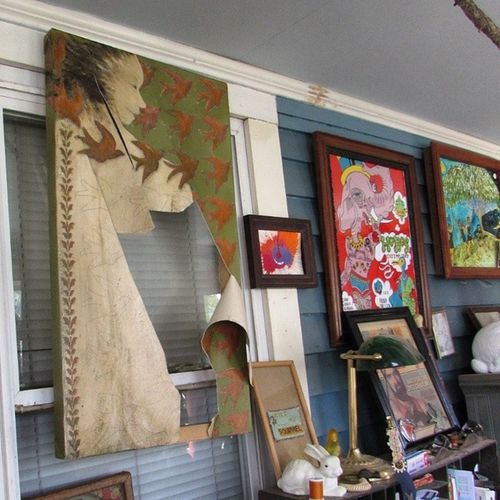 Shreddedcanvas of ExWife Artistrage Heartbreak nowevenmorebeautiful sunporch display artistshome art ruined