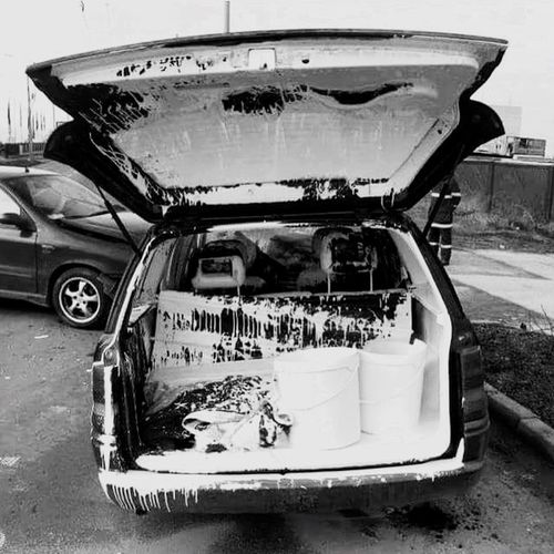 Deceptively Simple Accidentshappen Whoops Art Blackandwhite Photography Blackandwhite Photography glad it wasn't my truck today lol Lucked Out Paint Spill