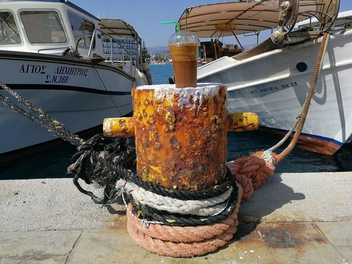 Frappe Greek Drink Frappe Icecoffee Water Nautical Vessel Moored Harbor Sky Close-up