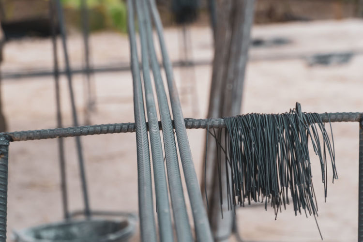 Close-up of fence against blurred background