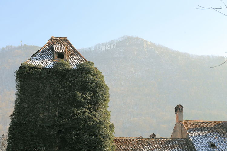 House covered with creepers by mountain against sky