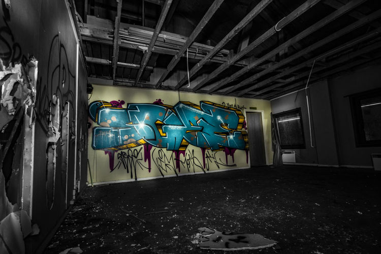 Home Perspective Abandoned Absence Architecture Ceiling Contrasted Creativity Damaged Day Decline Deterioration Domestic Room Empty Gallery Graffiti Hanging Indoors  No People Obsolete Run-down Unknown Artist Wild Side