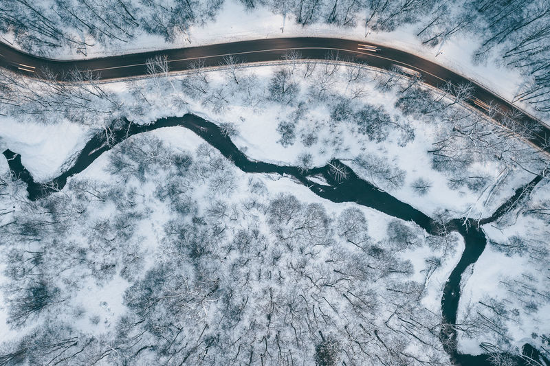 Nature and city combination Lietuva Kaunas Europe Lithuania Winter Wintertime Drone  Aerial View Aerial DJI X Eyeem Mavic 2 Mavic 2 Pro Birds Eye View View From Above Combination City Nature River Cold Temperature Snow High Angle View Beauty In Nature No People Scenics - Nature Day Transportation Outdoors Architecture Covering Curve Tranquil Scene Mountain Environment Connection