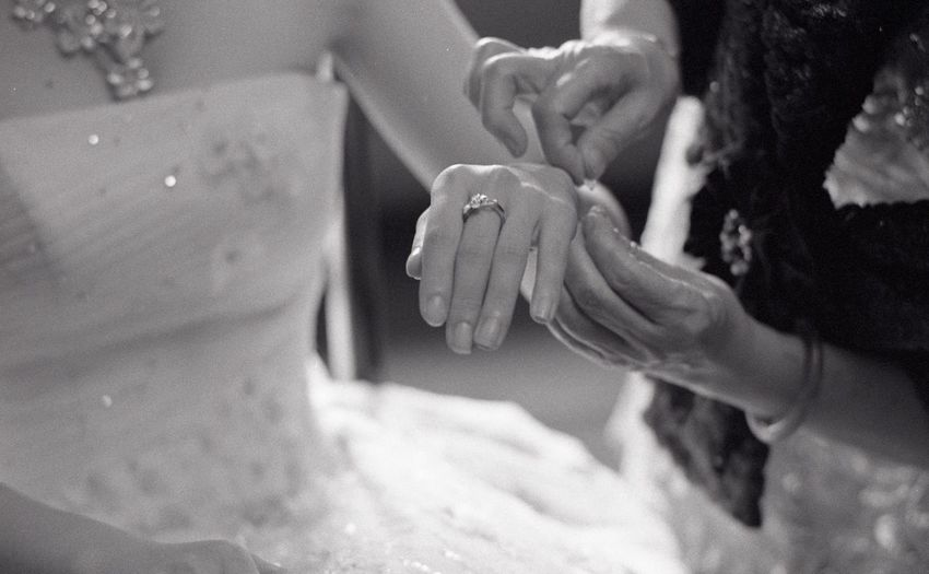Cropped hands of bridesmaid tying thread on bride hand c during wedding