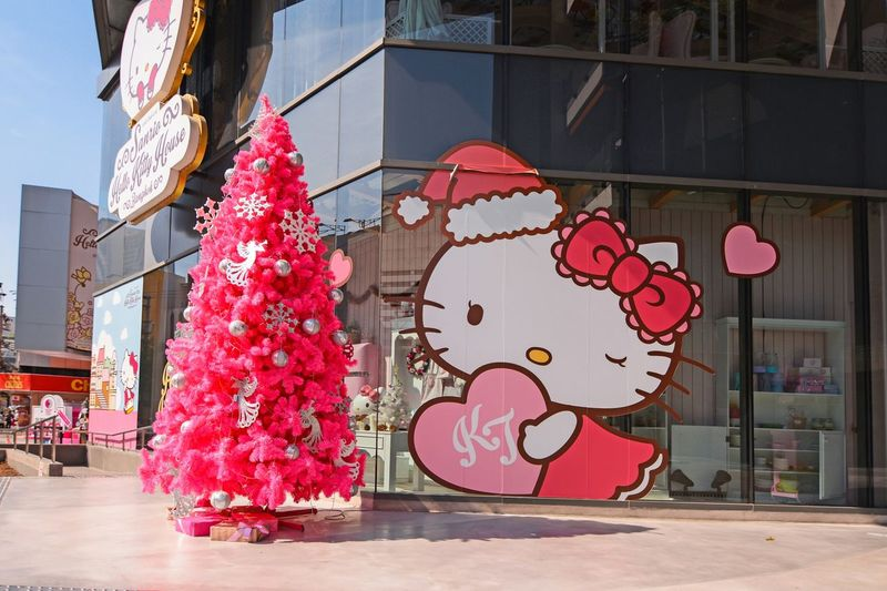 Bangkok, Siam Square One, Thailand - January 4, 2016: Hello Kitty House Bangkok: Cafe, Shop & Spa with Christmas tree, in Siam Square One. City Outdoors Day Building Exterior Hello Kitty Hellokitty Hello Kitty Cafe Christmas Pink HelloKittyCafeRestaurant Bangkok Thailand Siam Siamcenter Siam Center Siam Square Siam Square One Shop Store Christmas Tree ASIA Millennial Pink #urbanana: The Urban Playground