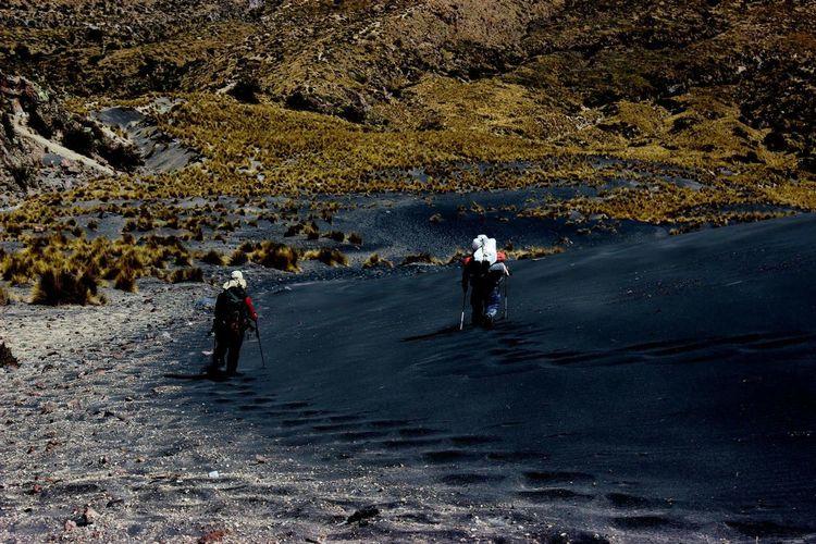 Rear view of people walking on field against mountain