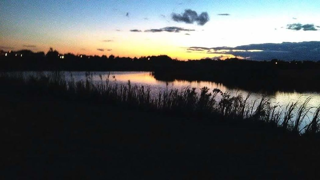 Silhouette Landscape Sunset Outdoors Sky Beauty In Nature No People Pond